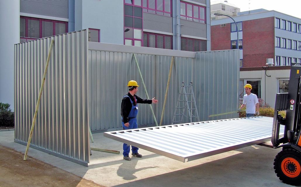 Flachdachhalle LS Lagerhallen Montage Dachelement