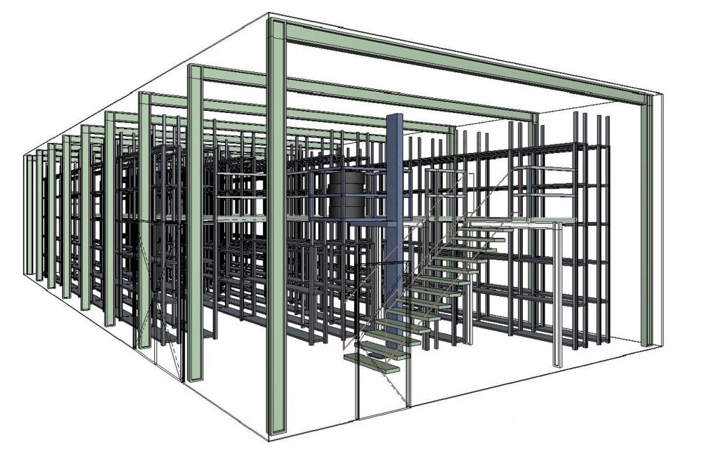 Reifenlagerhalle mit Einsäulenlift 3D