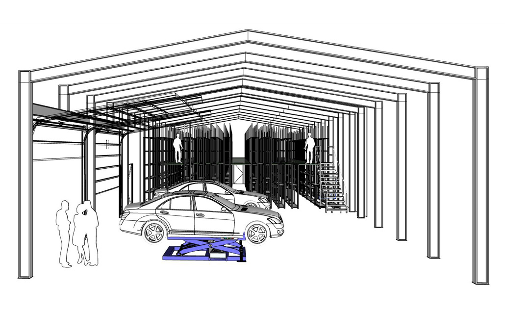 Werkstattbereich mit Reifenlager